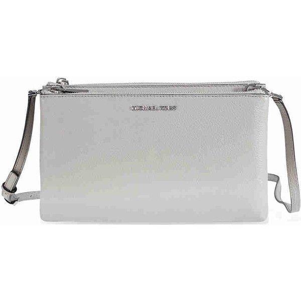 655a2dba5ca8 Take Michael Kors Adele Double-Zip Crossbody Bag - Pearl Grey (149) ❤ liked  ...