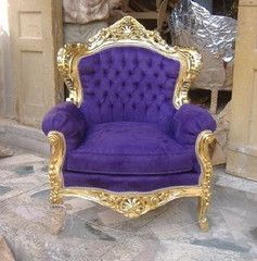 "IN STOCK Sold in sets of 2 ""BARRIE"" Baroque French Reproduction Louis XVI Burgandy and Gold Chair. This chair can be made any many different fabrics and wood colors. This elegant accent or dining chai"