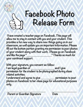 Do you want to use Facebook to create a class page for students and parents to utilize? If yes, this consent form will come in handy! It gives you permission to use photos of your students and there work. Have your students get parents to sign at the beginning of the year.