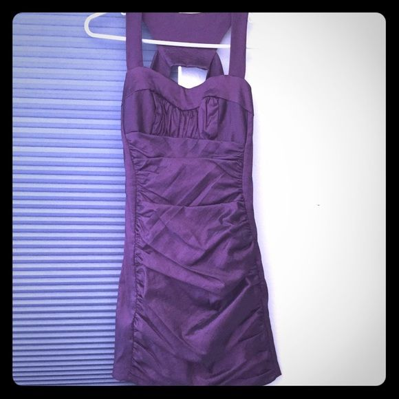 Jessica McClintock Purple Bodycon dress Material is purple with a slight sheen. Only worn once. Bodycon fit. Sizing is for petites. Jessica McClintock Dresses