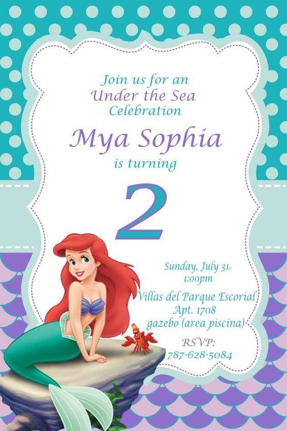 Invitaciones de sirenita para cumpleaños http://tutusparafiestas.com/invitaciones-sirenita-cumpleanos/