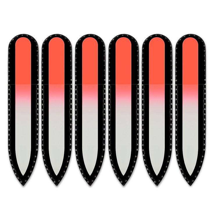 Farbige Glasnagelfeile in Tasche aus schwarzem Samt, klein und handlich, echtes gehärtetes Glas aus Tschechien, lebenslange Garantie | Handgefertigt in der Tschechischen Republik: Amazon.de: Beauty