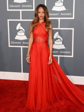I think my fave look of this years #Grammy's was Rhianna in that red dress!  Rihanna Grammy Awards Red Dress - P 2013