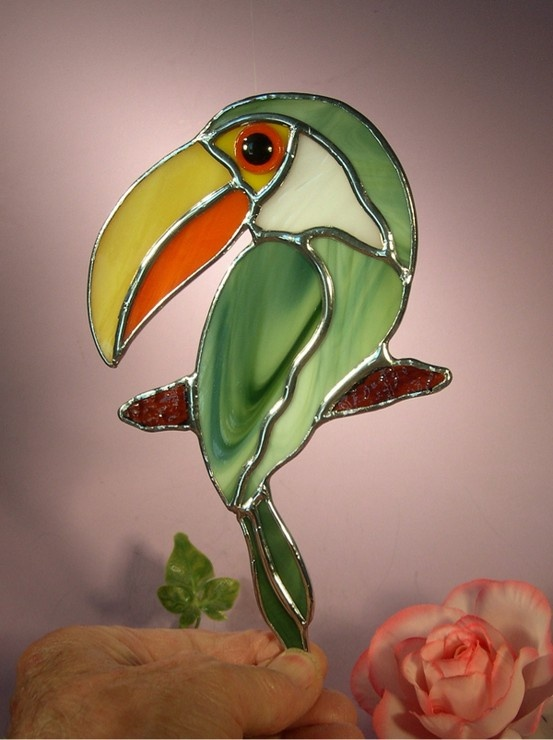 Stained Glass Toucan Bird by StainedGlassbyWalter on Etsy etsy.com