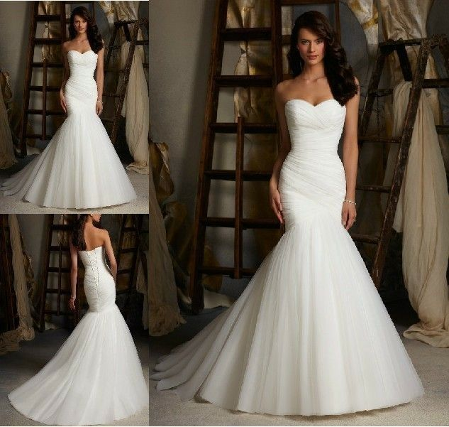 2014 New Style White/Ivory Mermaid Wedding Dress Bridal Gown Custom Sz 4-20+ | eBay