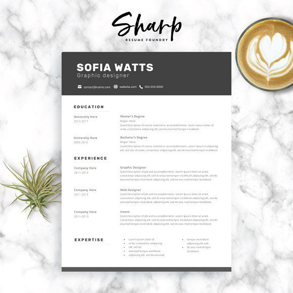 Modern Resume Template for Word by SharpResumeFoundry on @creativemarket