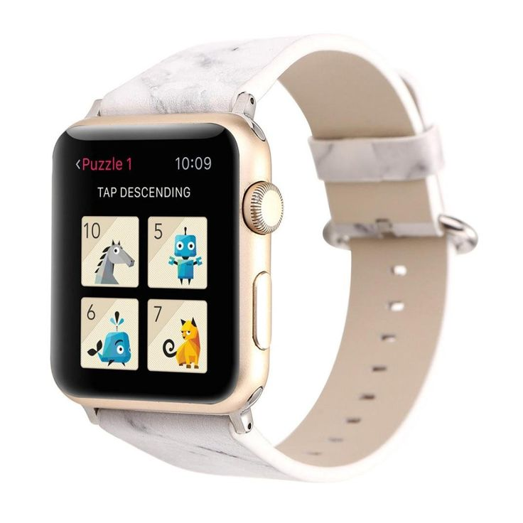 Apple Watch Band, Unpara Comfortable Marbling Leather Strap Replacement Watch Band, Available Color, 2017 New Style (White 42MM). Compatible:Suitable for Apple Watch 1/2. Softness is moderate, wear very comfortable. Material: Leather. Contracted design style, with you life contracted and not simple. The size can be adjusted according to the circumstance of individual wrist.