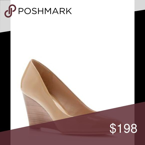 Via Spiga Pamina Nude Patent Leather Wedge Pumps Manufacturer: Via Spiga Size Origin: US Style Type: Wedge Heels Collection: Via Spiga Closure: Slip On Material: Unknown Fabric Type: Patent Via Spiga Shoes Wedges
