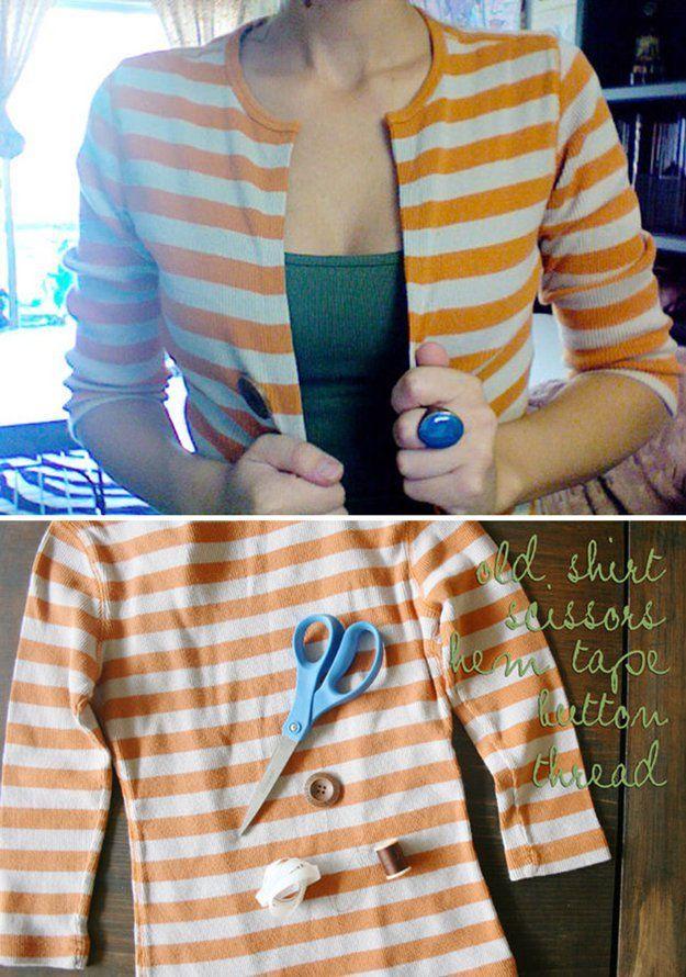 DIY No Sew Cardigan by DIY Ready at http://diyready.com/diy-hacks-make-clothing-last-longer/