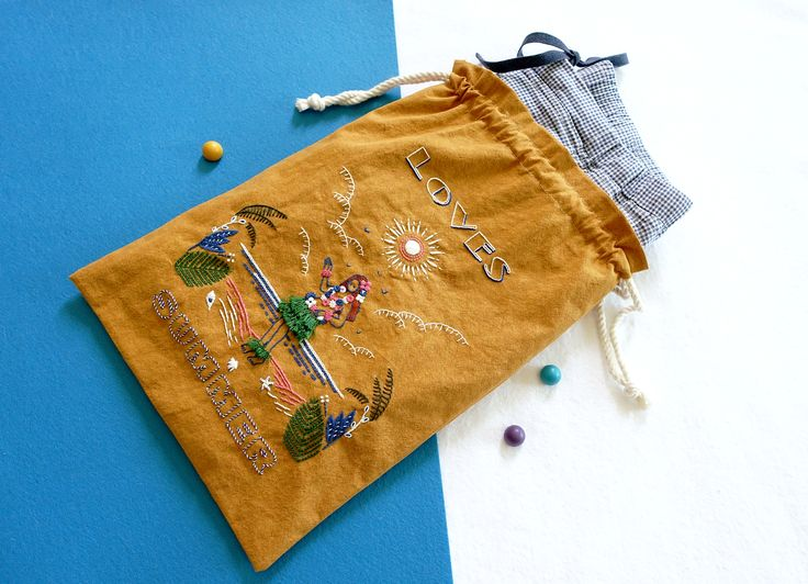 Summer illustration 2016.  embroidery on cotton.  Hand Embroidery Pouch. 300*360