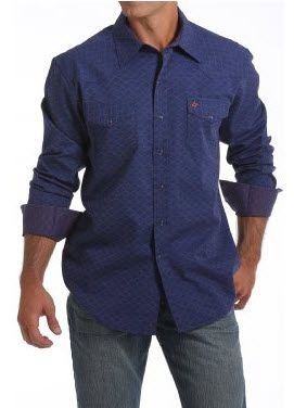 Cinch Garth Brooks Sevens Navy With Doby Print Snap