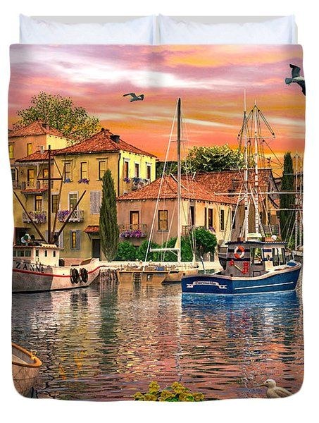 Harbour Sunset Duvet Cover by Dominic Davison