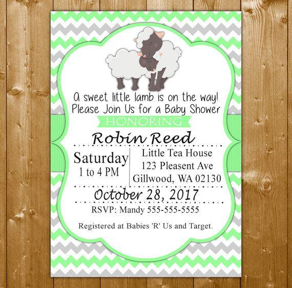 Lamb Baby Shower Invitation - Neutral Baby Shower Invitation - Mint Baby Shower Invitation - Sweet Little Lamb Invite SLL1001M