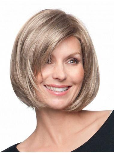 Good Chin Size Bobs Blonde Monofilament Womens Artificial Wigs #syntheticshortb…