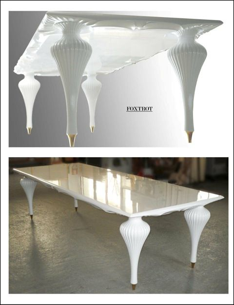 Table Foxtrot Table measures 113 x 300 cm, top in birch wood, handmade in white glossy lacquered;  legs made of maple wood, glossy white lacquered; terminal tip of brass (gold or silver).