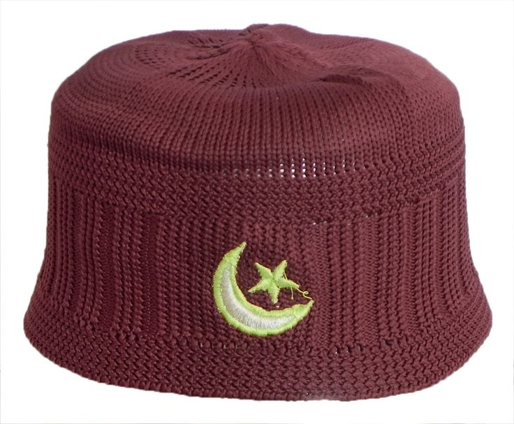 Maroon Knitted Thread Muslim Prayer Cap (Cotton Thread)