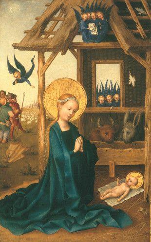 Anbetung des Kindes/Adoration of the Child, 1445, Stefan Lochner; the Christ…