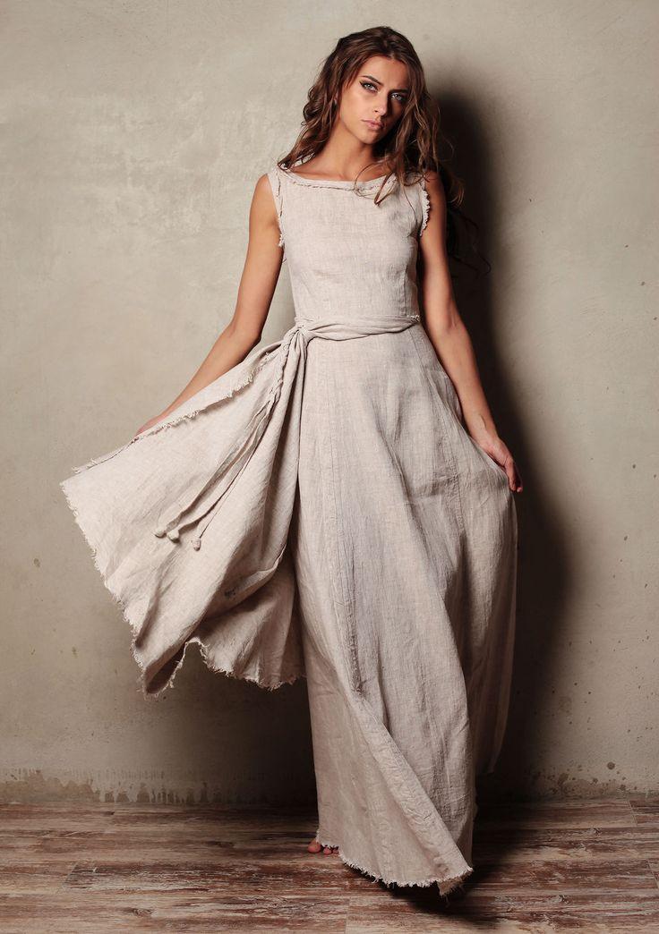 """Купить Платье """"Dream and Fly - Натурель"""" льняное - платье льняное, платье в пол"""