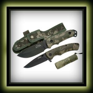 Trademark Rite Edge Stainless Steel Military Combo Set Knife,Green Two knives and a flashlight, great combo. The combat knife's blade is 8.5 x 1.375 x .75 inches (21.5 x 3.5 x 1.90 cm). http://theceramicchefknives.com/military-combat-knives/  Combat Knives, Fixed Blade, Gerber 31-001901 Bear Grylls Ultimate Pro Fixed Blade,