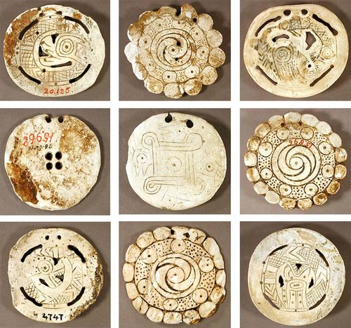 Typology of shell gorgets. North American. 1000-1600 A.D. Harvard Peabody Museum collection.