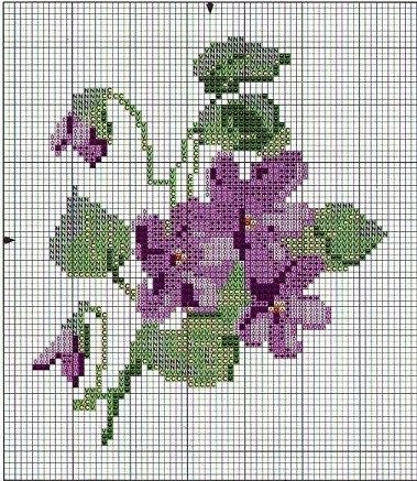 violets violettes cross stitch point de croix