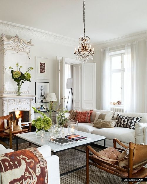 Small Eclectic Living Room Decorating Ideas: White Fireplace.. Small Chandelier And Now We Bring You