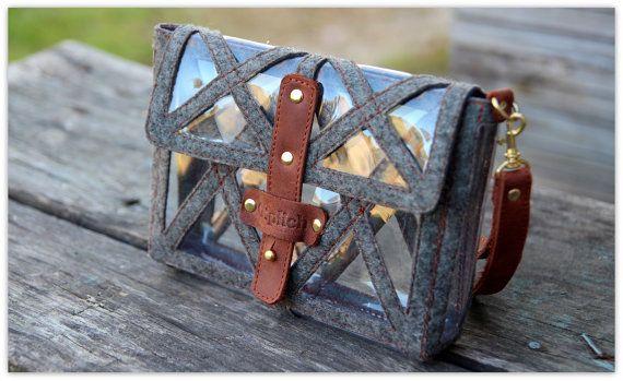Leather FELT Transparent Clutch / Clear Vinyl Wristlet / Genuin Leather Small Purse / Genuine Brown Leather & Grey Felt