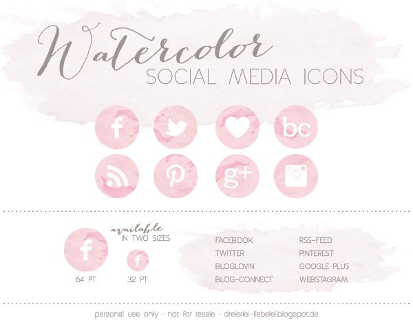 Dreierlei Liebelei: Watercolor Social Media Icons {Freebie} + Blog-Connect // Botones sociales apra blog