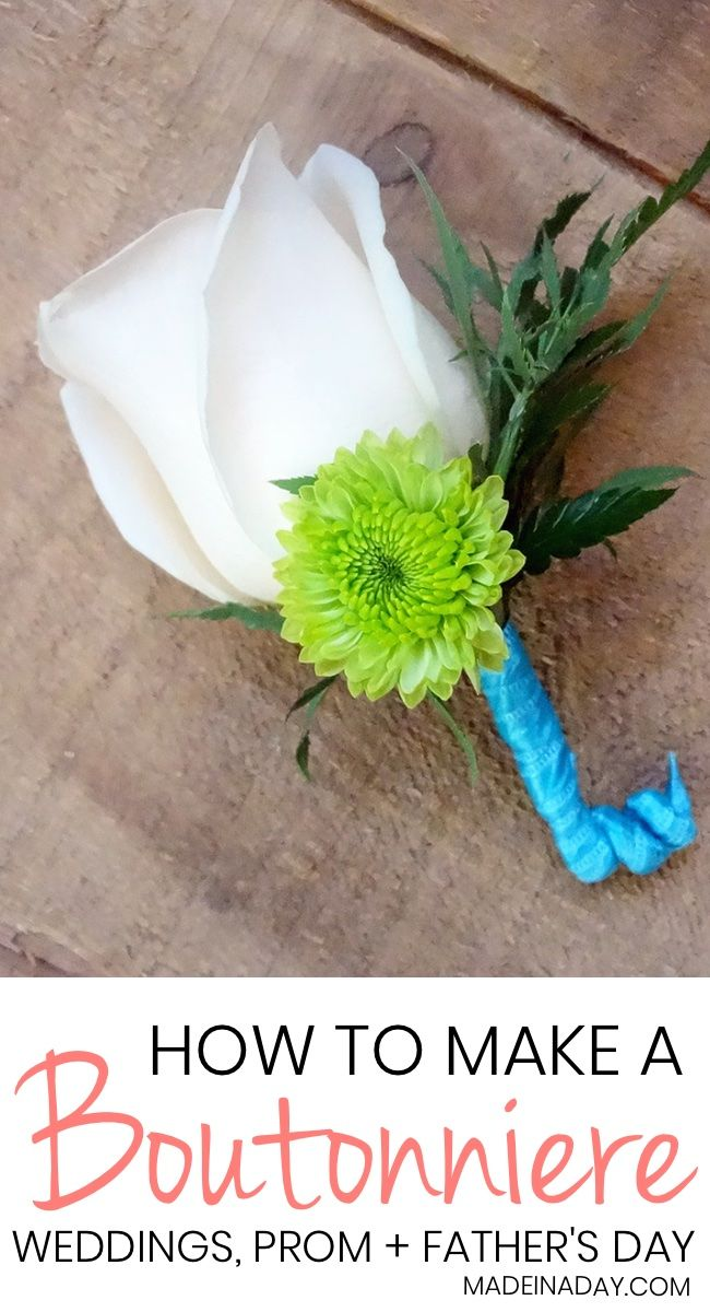 How to Make a Simple Boutonniere using real flowers and silk. Learn the professional way to make boutonnieres for weddings, proms, Father's Day, etc. Groom and Groomsman's boutonniere, wedding boutonniere, Rose boutonniere, teal, green and white boutonniere, diy boutonniere #wedding #boutonniere #groom #weddingflowers