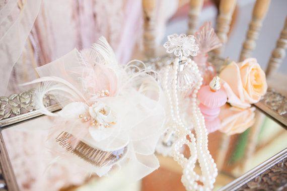 Cream and Light Peach Fascinator, Bridal Fascinator, Feather Fascinator, Weddings, Accessories, Vintage Fascinator,Ivory Fascinator, Bridal