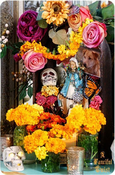 My friend, Vanessa has done it again with her beautifully creative and sentimental Dia de los muertos altar (remembering Baby dog)
