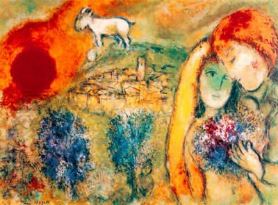 chagall prints | Liebende in Vence by Marc Chagall Art Print - WorldGallery.co.uk