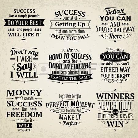 Succes motiverende en inspirerende creatieve citaten emblemen set ge soleerd vector illustratie Stockfoto