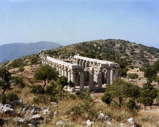 'This fabulous temple is one of the best preserved in all of Greece, and has what must be the most dramatic location. It goes by a variety of names: Pausanias calls it the Temple of Apollo Epikourios (Apollo the Helper); Vassai, or in old-fashioned transliteration Bassae, properly refers to the area it is found in, and translates, appropriately enough, as 'Ravines'; the locals often still refer to it as simply the 'stylous' – the 'pillars'.' The Peloponnese: the Bradt Guide…