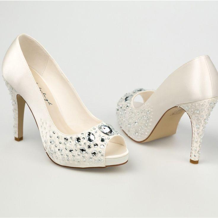 Chaussure mariage ivoire en satin à bout ouvert talon 11 cm ...