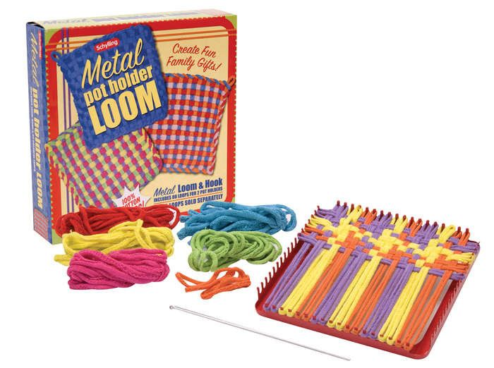Weave a surprise for the kitchen with this fun filled pot holder kit. With 100% Cotton loops and amazing colors, you are sure to create a usable work of art! The set includes instructions, 150 loops,