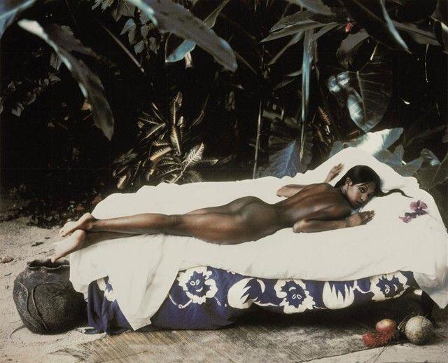 Naomi Campbell as Paul Gauguin's 'Manao Tupapau' by Peter Lindberg for Haper´s Bazaar