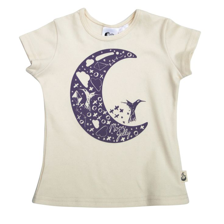 Moon T-Shirt - Natural/Twilight Printed super soft and stretchy 100% Organic Cotton signature print t-shirt. The shape and stretch makes it comfortable to wear for both sleep and play. Match it with our slim harem crop pant.