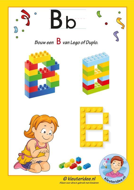 Pakket over de letter b blad 14, maak een B van lego of duplo, letters aanbieden aan kleuters, kleuteridee.nl, free printable.