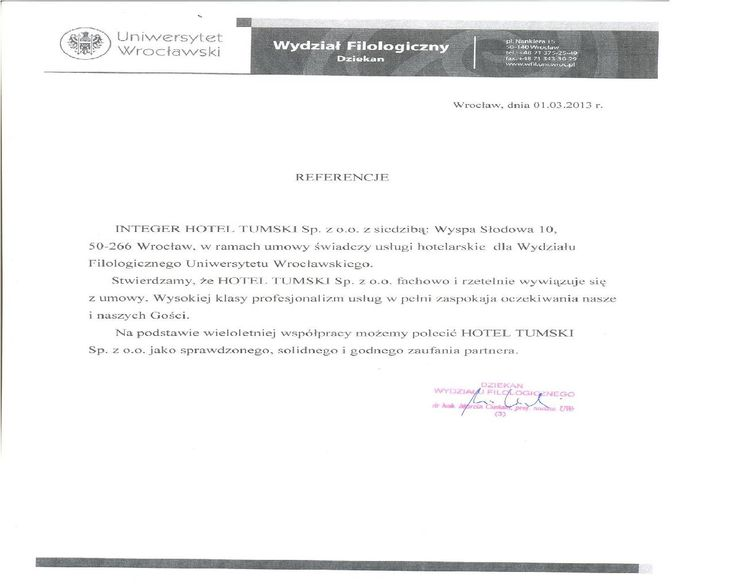 Recommendations of University of Wroclaw - Faculty of Philology