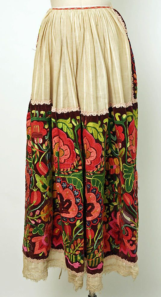 Apron, 20th century, European, Eastern, linen, silk