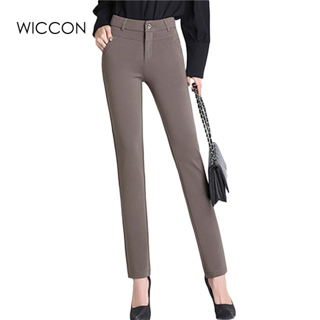 Great Buy $18.19, Buy Spring Autumn pants women office work High stretch cotton ladies pants Thicken female High Waist trousers WICCON