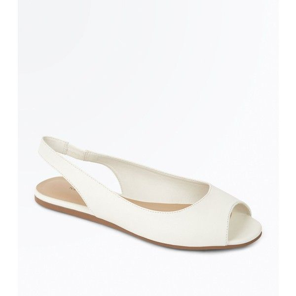 White Peep Toe Flat Slingbacks (€20