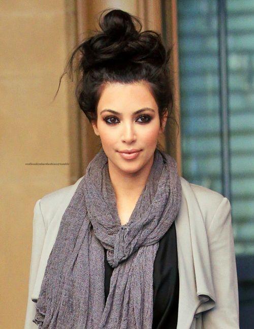 Kim Kardashian's messy hair bun.