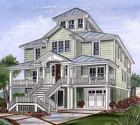Beach House Plan with Cupola - 15033NC | Beach, Cottage, Low Country, Narrow Lot, 2nd Floor Master Suite, CAD Available, Elevator, PDF | Architectural Designs