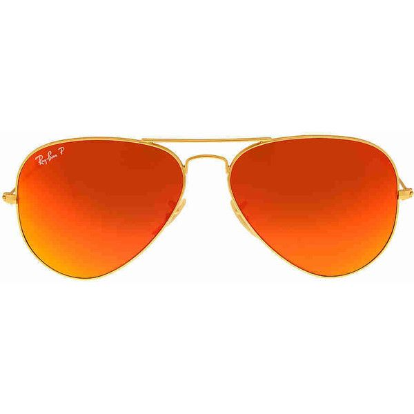 Ray Ban Aviator Flash Polarized Orange Flash Sunglasses RB3025 112/4D (7.080 RUB) ❤ liked on Polyvore featuring jewelry and orange jewelry