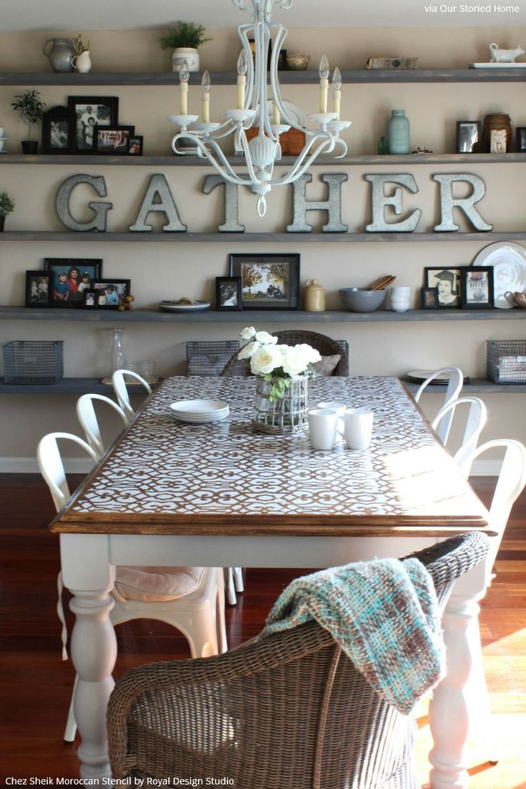 White Chalk Paint Painted Table Top - Boho Vintage Style with Chez Sheik Moroccan Furniture Stencils - Royal Design Studio