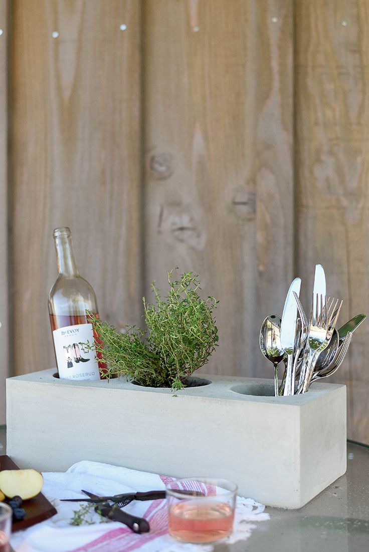 Chic and Simple Cement Trough Centerpiece