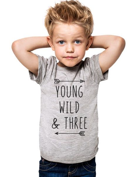 Young Wild & Three - cool boho Birthday Shirt 3rd Age 3 Three year old Toddler Shirt
