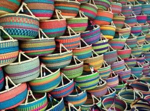 A wall of baskets from Lucy Farmer's World Baskets who will be at Showcase 2015 Stand 77